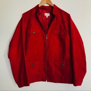 Red suede like jacket